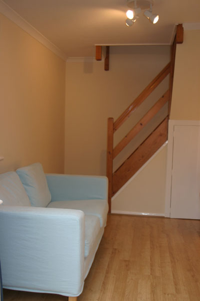 Sofa and Stairs for Maidenhead self catering apartment for short term let. Rooms to let in Maidenhead